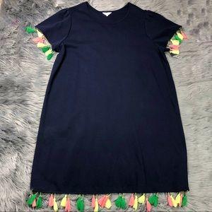 Crown & Ivy Curvy Navy Tassel Short Sleeve Dress